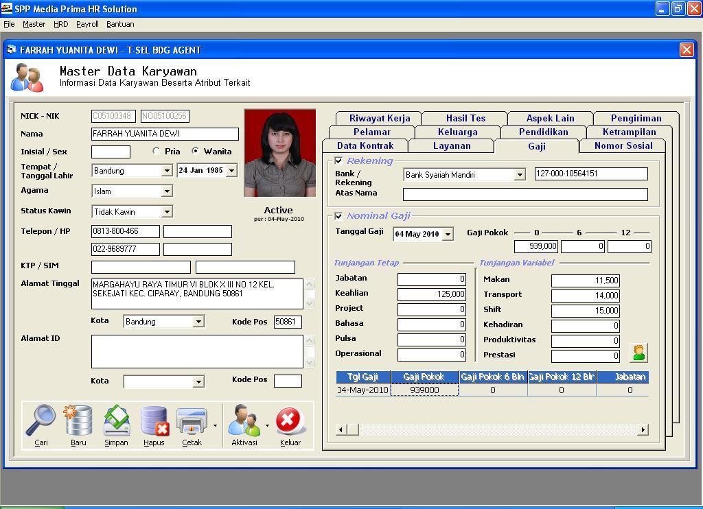 Sistem Informasi Personalia & Payroll